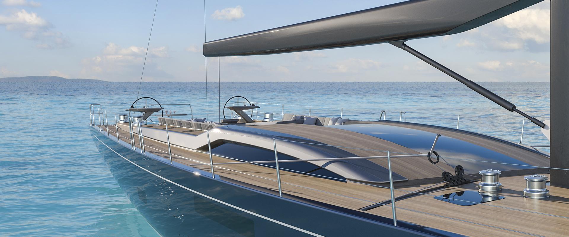 Rendering of SW108 HYRBID Sailing Yacht