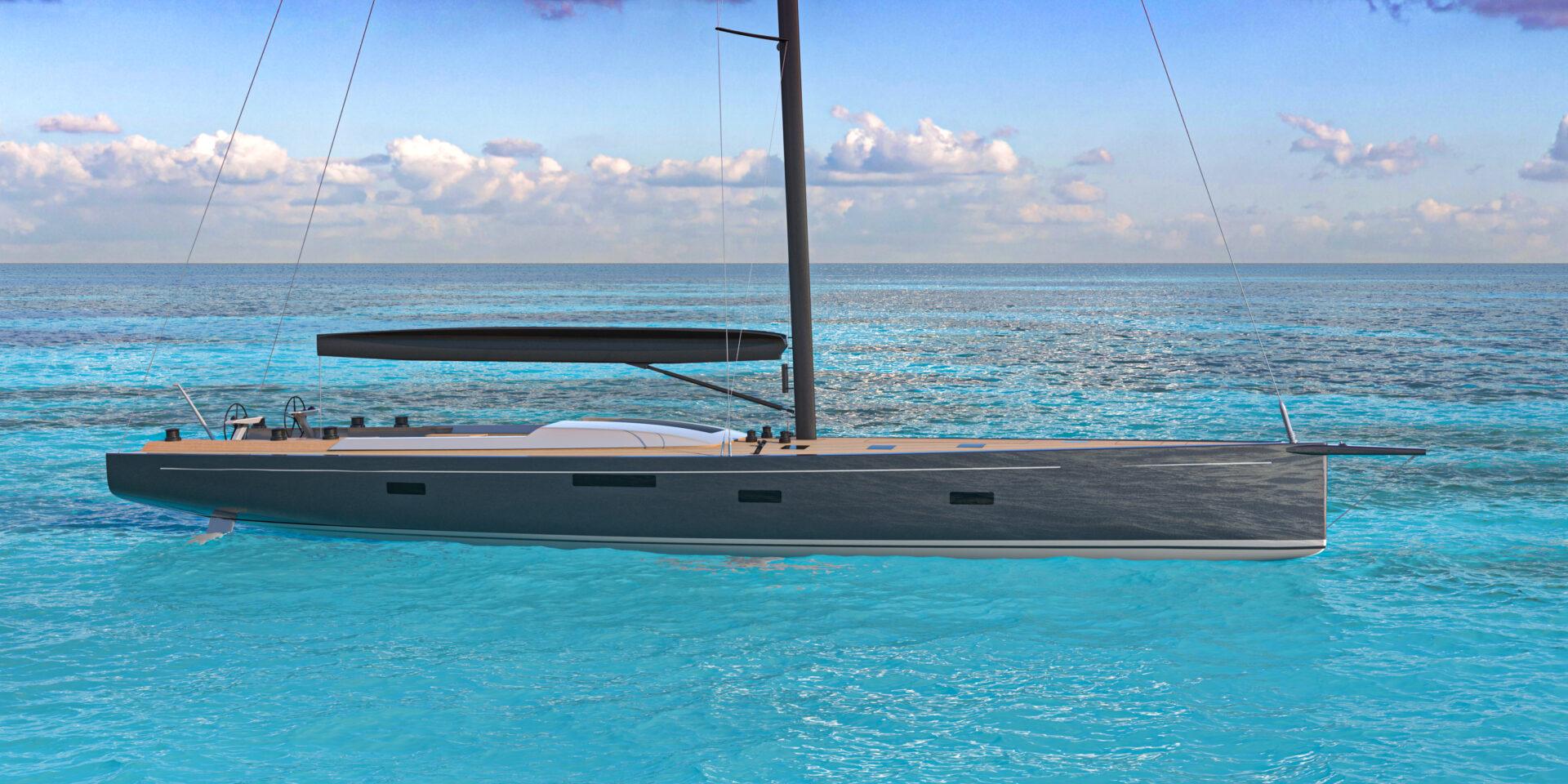 Rendering of SW96 Nyumba Hybrid Sailboat at Anchor